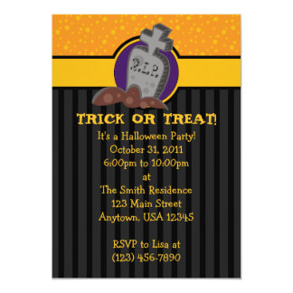 5x7 RIP Grave Tombstone Halloween Party Invitation