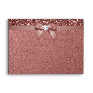5x7 Rose Gold Glitter Diamond Bow Envelope