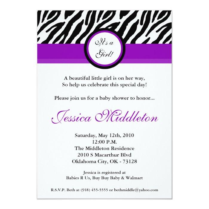 5x7 roya purple zebra print baby shower invitation zazzle