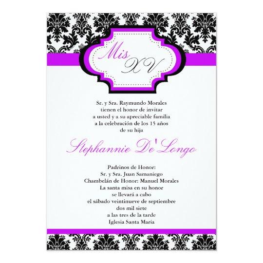 5x7 Royal Purple Damask Quinceanera Invitation