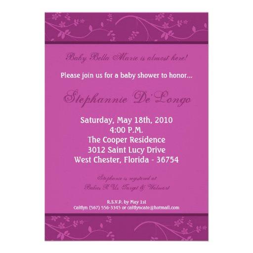 5x7 royal purple flower baby shower invitation 5 x 7 invitation c