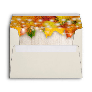 5x7 Rustic Autumn Maple Leaves String Lights Envelope