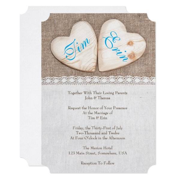 Burlap Invitations Wedding: Burlap And Lace Wedding Invitations
