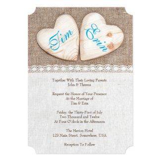 5x7 Rustic Burlap & Lace Wedding Invitation