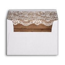 5x7 - Rustic Country Barn Wood Lace Wedding Envelope
