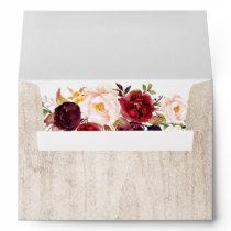 5x7 - Rustic Wood Burgundy Floral & Return Address Envelope