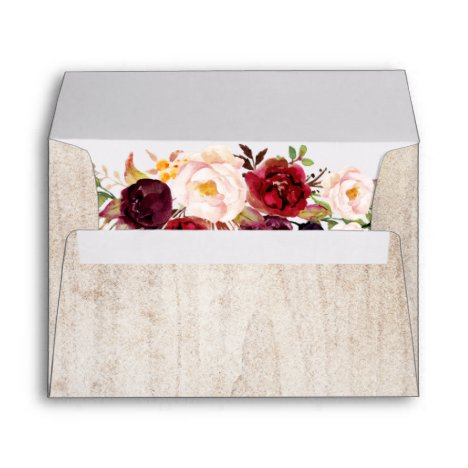 5x7 - Rustic Wood Burgundy Floral & Return Address Envelope
