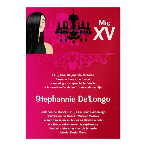 5x7 Sassy Girl Quinceanera Birthday Invitation