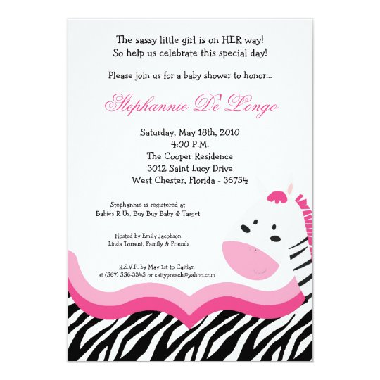 5x7 Sassy Pink Jungle Zebra Baby Shower Invitation