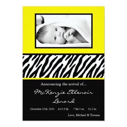 5x7 Sassy Yellow Zebra PHOTO Birth Announcement