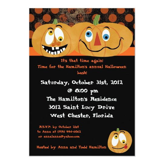5x7 Scary Pumpkins Halloween Party Invitation