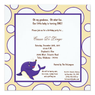 5x7 Seal Pok-a-Dot Birthday Party Invite