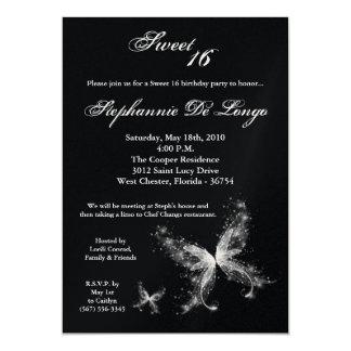 5x7 Sheer Butterfly Sweet 16 Birthday Invitation