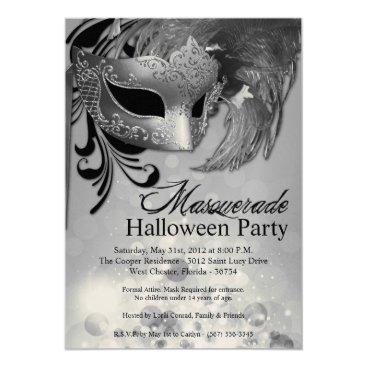 Halloween Themed 5x7 Silver Masquerade Halloween Invitation