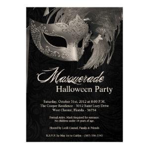 5x7 Silver Masquerade Halloween Invitation