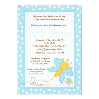 5x7 Spring Blue Butterfly Baby Shower Invitation