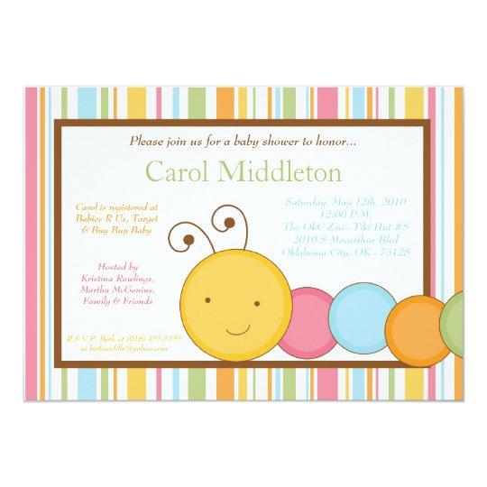 5x7 Spring Caterpillar Worm Baby Shower Invitation