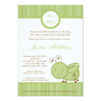 5x7 Spring Grasshopper Baby Shower Invitation