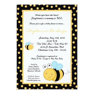 5x7 Spring Honey Bumble Bee Baby Shower Invitation
