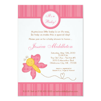 5x7 Spring Pink Butterfly Baby Shower Invitation