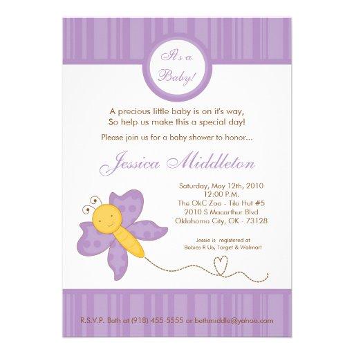 5x7 spring purple butterfly baby shower invitation 5 x 7 invitati