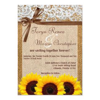 "5x7 Sunflower Lace Burlap Count Wedding Invitation 5"" X 7"" Invitation Card"