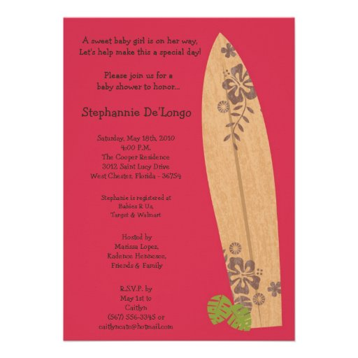 5x7 Surfer Baby Surf Boards Baby Shower Invitation Personalized Announcements
