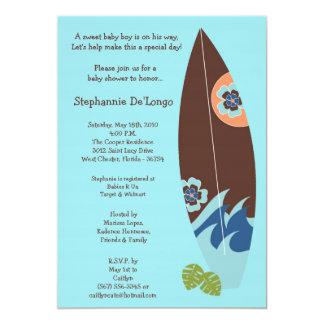 "5x7 Surfer Baby Surf Boards Baby Shower Invitation 5"" X 7"" Invitation Card"
