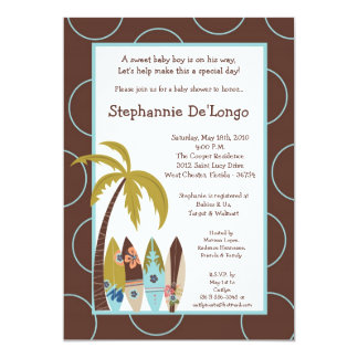 5x7 Surfer Baby Surf Boards Baby Shower Invitation Cards