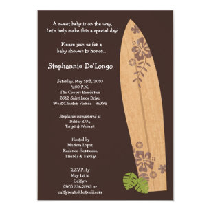 5x7 Surfer Baby Surf Boards Shower Invitation