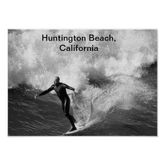 5x7 Surfer blk wht, Huntington Beach, California Poster
