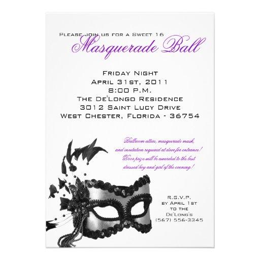 5x7 sweet 16 masquerade ball birthday invitation 5quot x 7quot invitation card zazzle for Masquerade birthday invitations