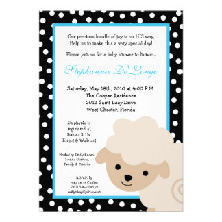 5x7 Sweet Blue Farm Sheep Baby Shower Invitation Cards