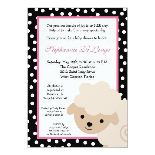 5x7 Sweet Pink Farm Sheep Baby Shower Invitation Invitations