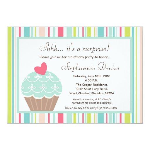 "5x7 Sweet Treat Cup Cake Birthday Party Invitation 5"" X 7"" Invitation Card"
