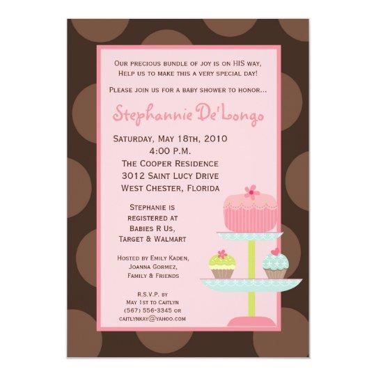 5x7 Sweet Treats Cup Cake Baby Shower Invitation