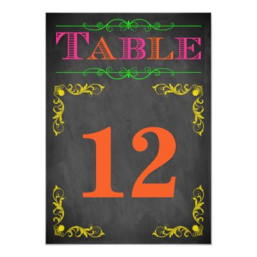 5x7 Table Number Card | Neon Chalkboard