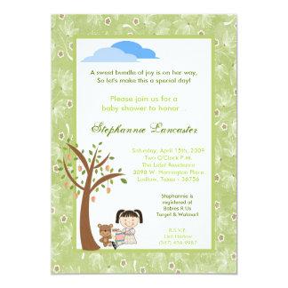 5x7 Tea Party Bear Girl Baby Shower Invitation