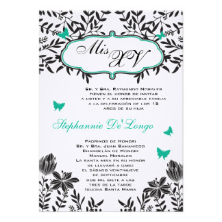 5x7 Teal Butterfly Quinceanera Birthday Invitation