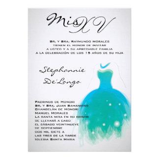 5x7 Teal Dress Quinceanera Birthday Invitation
