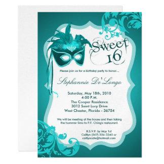 5x7 Teal Masquerade Mask 16 Birthday Invitation