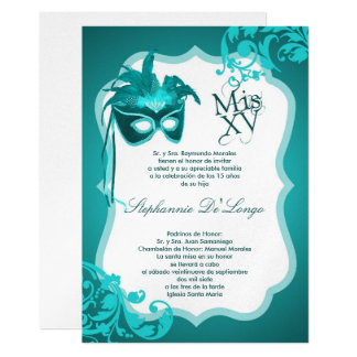 5x7 Teal Masquerade Mask Quinceanera Invitation