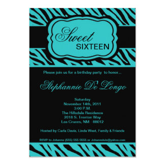 5x7 Teal Zebra Print Birthday Party Invitation