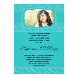 5x7 Teal Zebra Print Patter Quinceanera Invitation