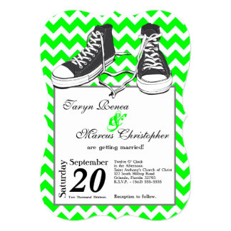 5x7 Teenage Sneakers Chevron Wedding Invitation