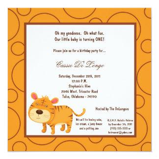 5x7 Tiger Pok-a-Dot Birthday Party Invite
