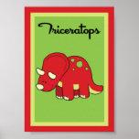 5X7 Triceratops Dinosaurs Wall Art Print