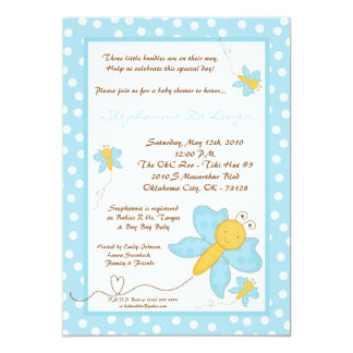 5x7 TRIPLET Blue Butterfly Baby Shower Invitation