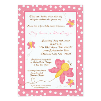 5x7 TRIPLET Pink Butterfly Baby Shower Invitation