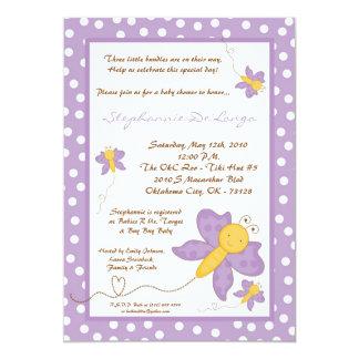 5x7 TRIPLET Purpl Butterfly Baby Shower Invitation
